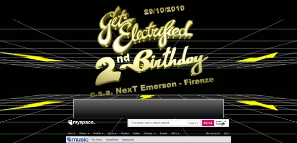 MySpace Get Electrified Special Header: 2nd Birthday skin