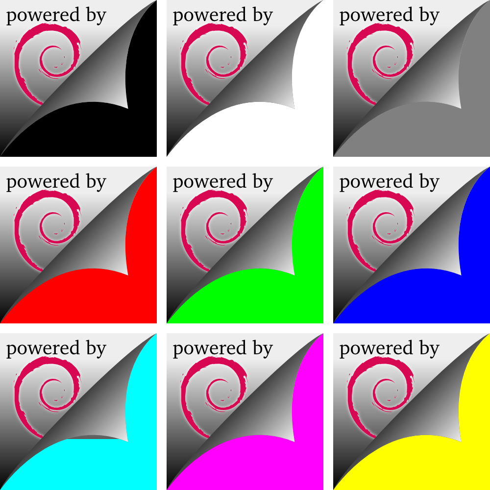 """Powered by Debian"" folding corner (in 9 colors)"